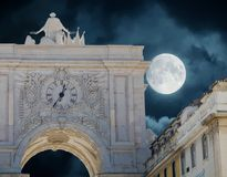 Arco DA Rua Αουγκούστα τη νύχτα Στοκ φωτογραφία με δικαίωμα ελεύθερης χρήσης