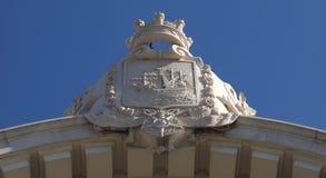Arco da Rua Augusta p? Praca g?r Comercio royaltyfri fotografi