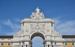 Arco da Rua Augusta in Praca do Com�rcio. Triumphal Arch in the iconic Commerce Square in the very centre of Lisbon Stock Photos
