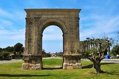 Arco de Bera, un arco triunfal romano antiguo en Roda de Bera, SP Fotos de archivo