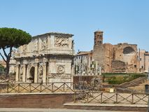 Arch Constantino and Temple of Venus and Rome. Lazio, Italy. Arco de Constantino, Arch of Constantine, with Temple of Venus and Rome and Santa Francesca Romana Royalty Free Stock Photo