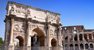 Arco de Constantino and  Colosseum in Rome, Italy. Details of Arco de Constantino and  Colosseum in Rome, Italy Royalty Free Stock Photos