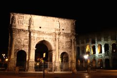 Arco de Constantino and Colosseum in Rome, Italy Stock Photos
