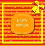 Arco de la cinta de la tarjeta del feliz cumpleaños Fotos de archivo