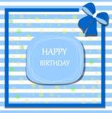 Arco de la cinta de la tarjeta del feliz cumpleaños Foto de archivo libre de regalías