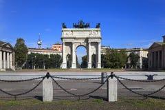 Arco de la paz en el parque de Sempione, Milano, Italia Foto de archivo