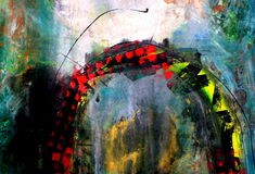 Arco de la pintura del fondo de los media mezclados Foto de archivo