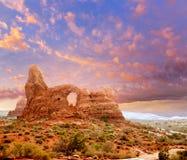 Arco de la torrecilla del parque nacional de los arcos en Utah los E.E.U.U. Fotos de archivo