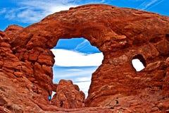 Arco de la torrecilla en cierre del parque nacional de los arcos para arriba Fotos de archivo