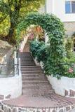 Arco de las hojas del verde con las escaleras Foto de archivo