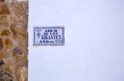 Arco de Los Gigantes, σημάδι - Antequera Στοκ Εικόνες