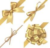 Arco de oro decorativo con diagonalmente la cinta para la decoración de la esquina Sistema de las decoraciones del día de fiesta  ilustración del vector