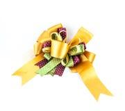 Arco de oro o amarillo de la cinta Foto de archivo libre de regalías