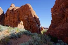Arco de piedra rojo del árbol de pino del paisaje del desierto Foto de archivo libre de regalías