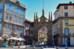 Arco DE Porta Nova verfraaide op een speciale manier Stock Fotografie