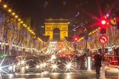 Arco de Triumph e de Champs-Elysees, Paris Imagens de Stock