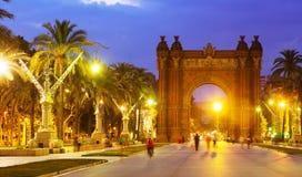 Arco de Triunfo το βράδυ Καταλωνία Στοκ Εικόνες