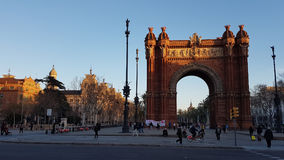 Arco de Triunfo Barcelona Spanien Fotografering för Bildbyråer