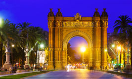 Arco de Triunfo i natt Arkivfoton