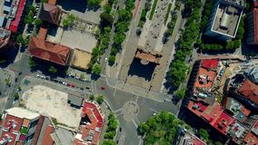 Arco de Triunfo - Triumphal Arch in Barcelona aerial top view. Spain Stock Images