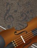 Arco de violín con el fondo Illuustration de las notas musicales Imágenes de archivo libres de regalías