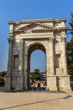 Arco dei Gavi is oude Roman triomfantelijke boog in Verona Itali? royalty-vrije stock foto