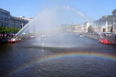 Arco del agua y arco del arco iris Imagen de archivo libre de regalías