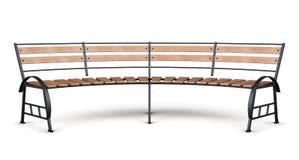 Arco del banco de parque en un fondo blanco 3d rinden los cilindros de image Imagen de archivo