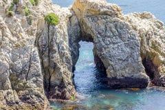 Arco del mar en la reserva del estado natural de Lobos del punto fotos de archivo