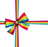 Arco del nastro del regalo dell'arcobaleno Immagine Stock Libera da Diritti