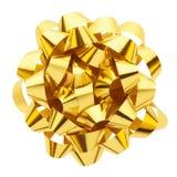 Arco del regalo dell'oro Fotografia Stock