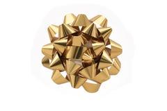 Arco del regalo dell'oro sopra priorità bassa bianca Fotografie Stock