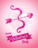 Arco del ` s del cupido Scheda di giorno di Valentineâs Illustrazione di vettore Fotografia Stock