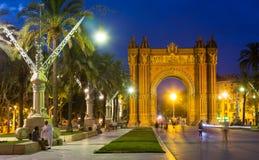 Arco del Triomf na noite Barcelona Foto de Stock Royalty Free