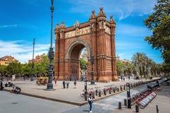 Arco del Triunfo巴塞罗那胜利曲拱,西班牙- 2018年5月14日 库存图片