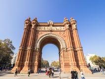 Arco del triunfo στη Βαρκελώνη κεντρικός Στοκ Εικόνα