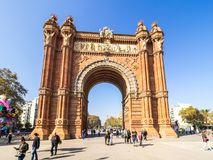 Arco del triunfo in Barcelona downtown. Barcelona, Spain - October 29, 2016. View of the Arc del Trionf monument in Barcelona Stock Images