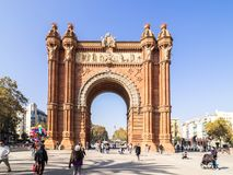 Arco del triunfo in Barcelona downtown. Barcelona, Spain - October 29, 2016. View of the Arc del Trionf monument in Barcelona Royalty Free Stock Images