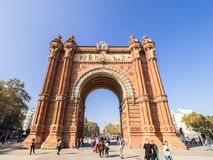 Arco del triunfo in Barcelona downtown. Barcelona, Spain - October 29, 2016. View of the Arc del Trionf monument in Barcelona Stock Image