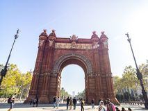 Arco del triunfo in Barcelona downtown. Barcelona, Spain - October 29, 2016. View of the Arc del Trionf monument in Barcelona Royalty Free Stock Photos