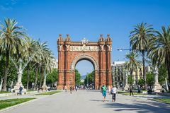 Arco del Triunfo Barcelona Triumph Arch -Spain - May 18, 2018. Arco del Triunfo Barcelona Triumph Arch -Spain - May 18, 2018 Royalty Free Stock Images