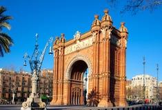 Arco del Triunfo Barcelona Triumph båge Arkivbilder