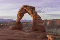 Arco delicado no parque nacional dos arcos perto de Moab, Utá Fotografia de Stock
