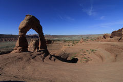 Arco delicato, arché parco nazionale, Utah, U.S.A. immagine stock