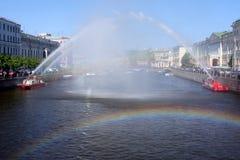 Arco dell'acqua ed arco del Rainbow Immagine Stock Libera da Diritti