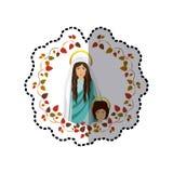 Arco dell'autoadesivo delle foglie con il san vergine Maria ed il bambino Gesù Immagini Stock Libere da Diritti
