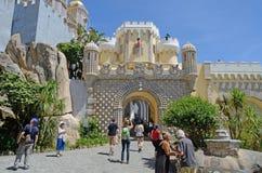 Arco dell'entrata del castello di Pena, Sintra, Portogallo Fotografia Stock Libera da Diritti
