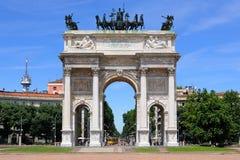 Arco della意大利米兰纪念碑步幅 库存照片