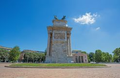 Arco della Pace, Arch of Peace, lateral view, near Sempione Park in city center of Milan, Italy. Europe Royalty Free Stock Images