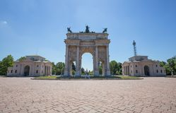Arco della Pace, Arch of Peace, near Sempione Park in city center of Milan, Italy. Europe Stock Image